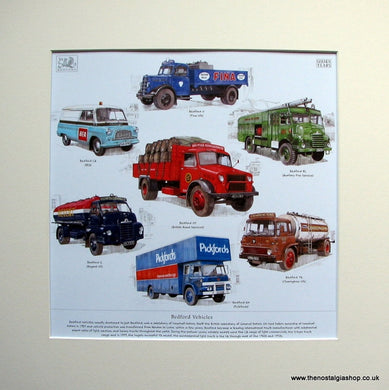 Bedford Vehicles. Mounted Print.