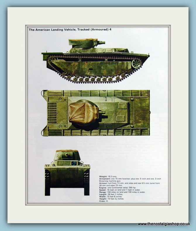 American landing Vehicle, Tracked (Armoured) 4 Print (ref PR500)