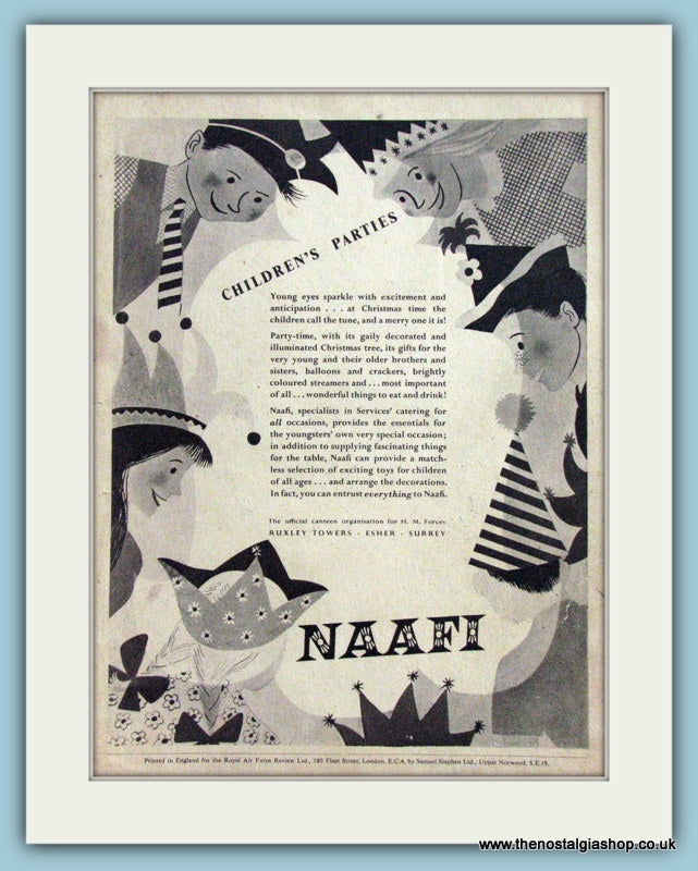 NAAFI Children's Parties. Original Advert 1954 (ref AD4245)