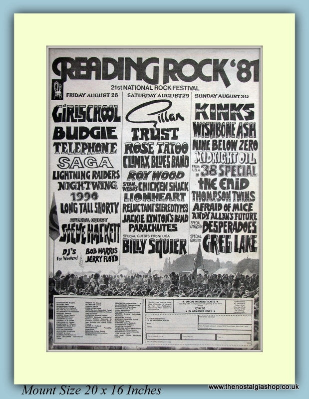 Reading Rock Festival 1981 Original Advert (ref AD9140)