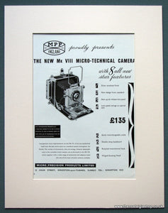 MPP Mk VIII Micro-Technical Camera 1963 Original Advert (ref AD1073)