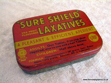 Load image into Gallery viewer, Sure Shield Laxatives. Vintage Tin (ref nos036)