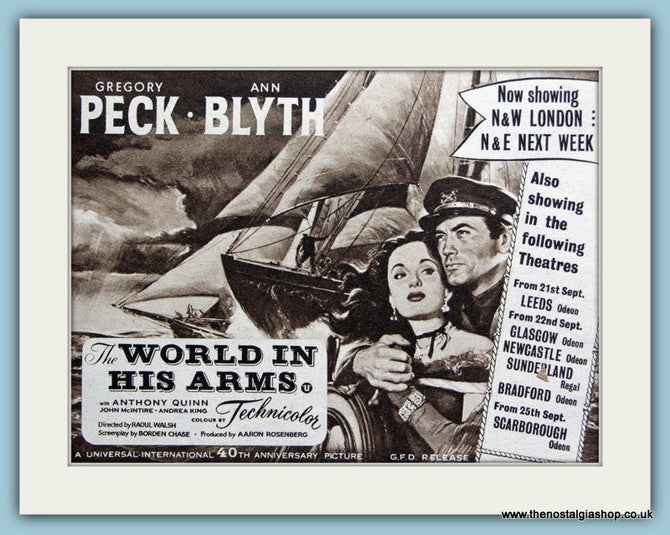 The World In His Arms starring Gregory Peck, 1952 Original Advert (ref AD3228)