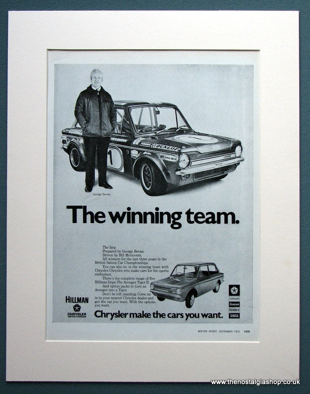 Hillman Imp 1972 Chrysler Original Advert (ref AD1106)