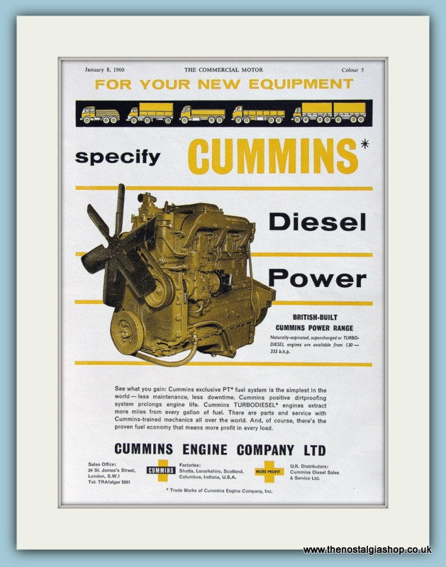Cummins Diesel Power Original Advert 1960 (ref AD2986)