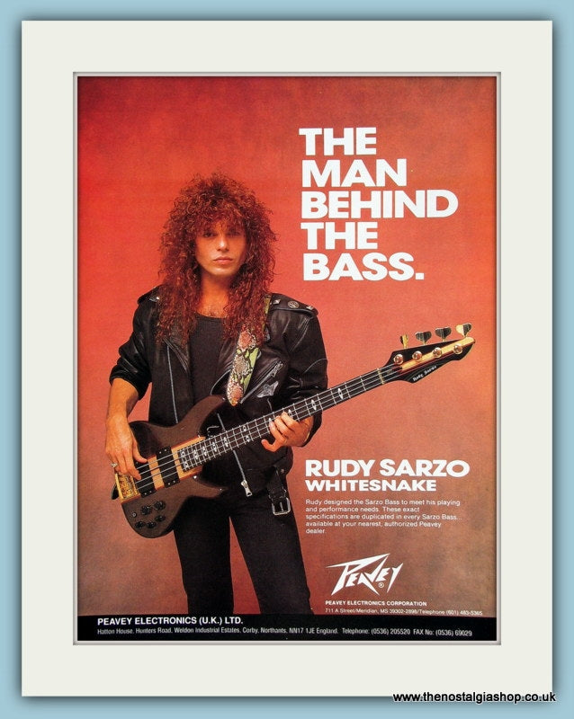 Rudy Sarzo Bass Guitar from Peavey. Original Advert 1990 (ref AD2198)
