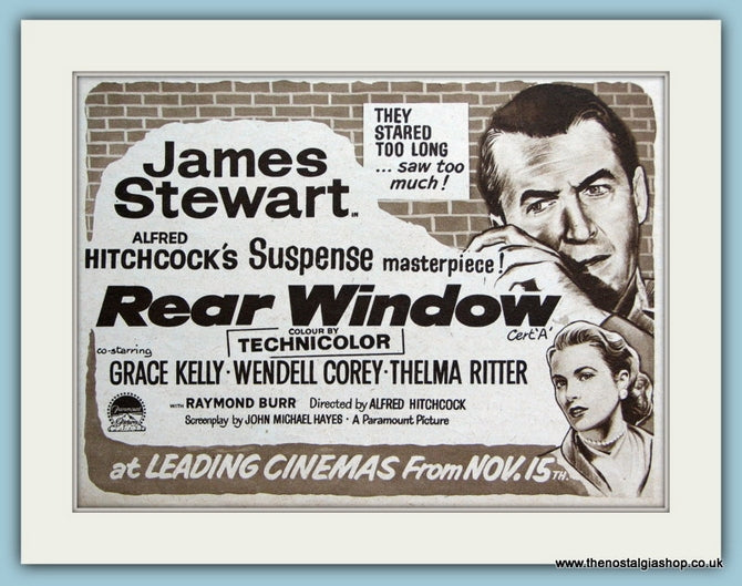 Rear Window - James Stewart, Grace Kelly 1954 Original Film Advert (ref AD3337)