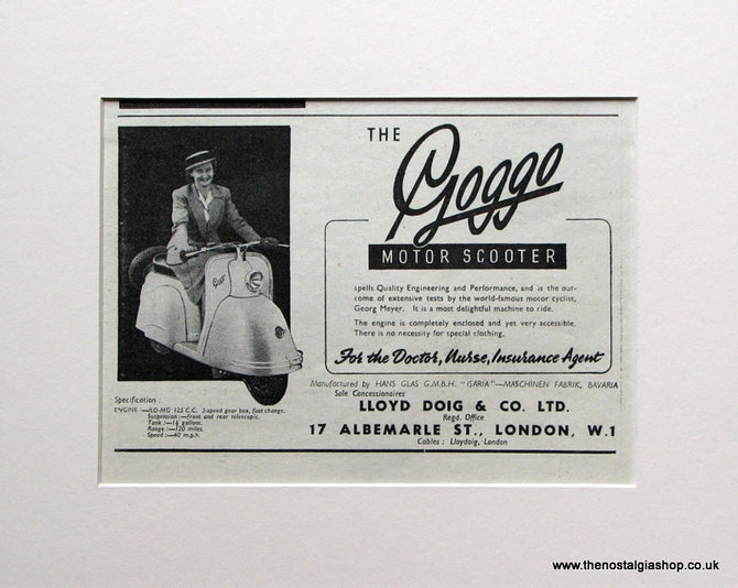 Goggo Motor Scooter. 1951 Original advert (ref AD1571)