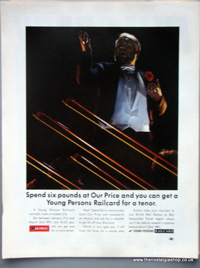 Young Persons Railcard Ourprice Original Advert 1991 (ref AD6562)