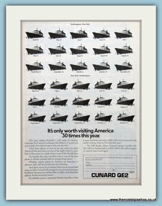 Cunard QE2 Cruise Ship Original Advert 1975 (ref AD2303)