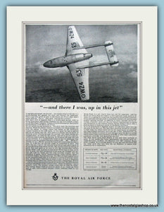 The Royal Air Force De Havilland Vampire Trainer Jet Original Advert 1954 (ref AD6278)