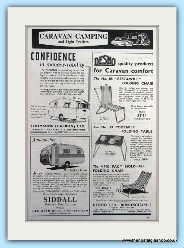 Folding Table & Chairs Desmo & Touring Caravans Original Advert 1955 (ref AD6333)