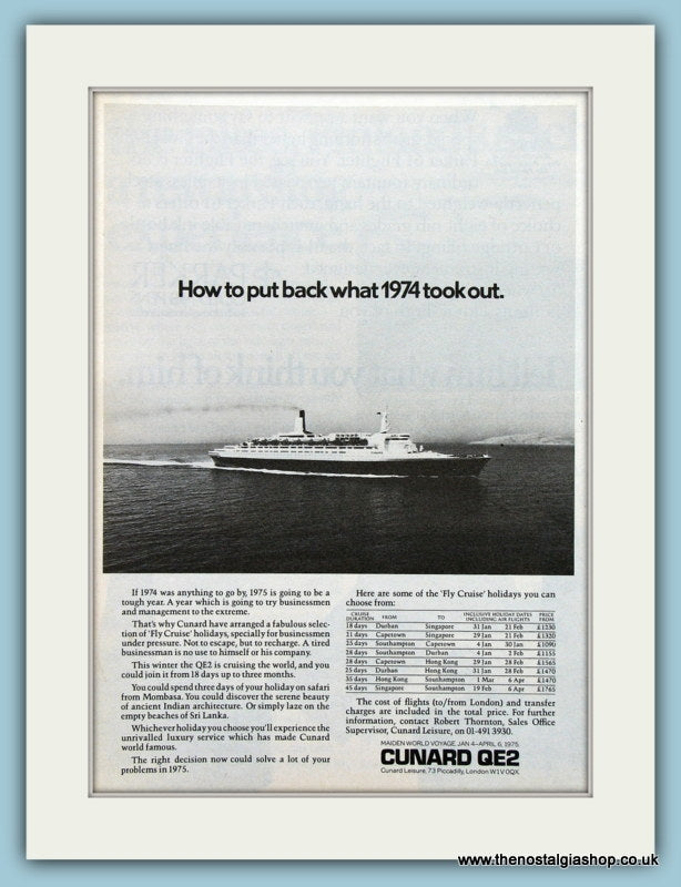 Cunard QE2 Original Advert 1974 (ref AD2279)