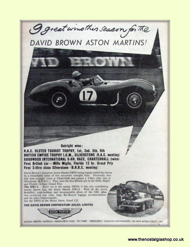 Aston Martin David Brown Original Advert 1953 (ref AD6683)