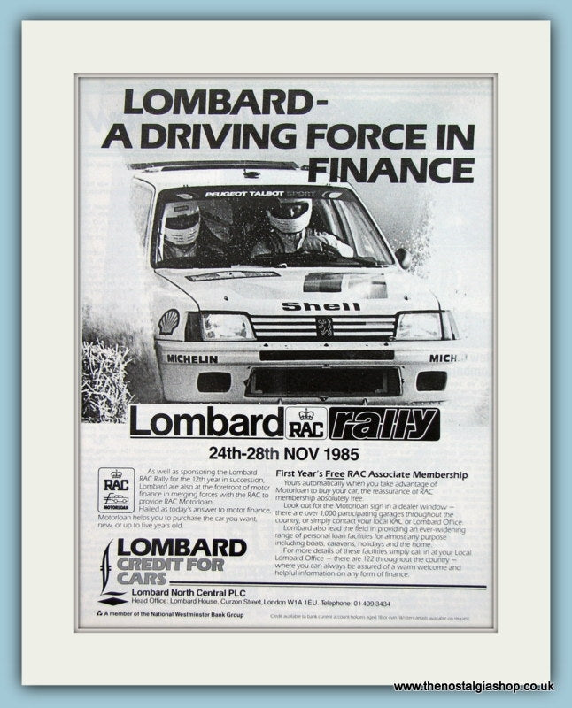 Lombard RAC Rally 1985. Original Advert (ref AD2034)