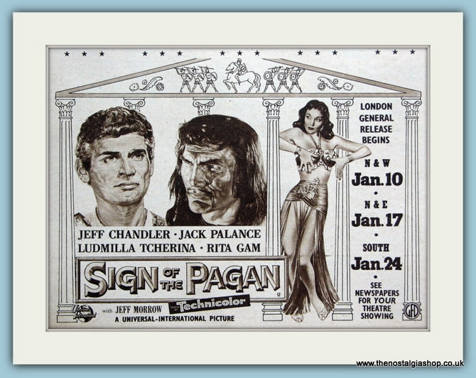 Sign Of The Pagan starring Jeff Chandler, 1955 Original Advert (ref AD3251)