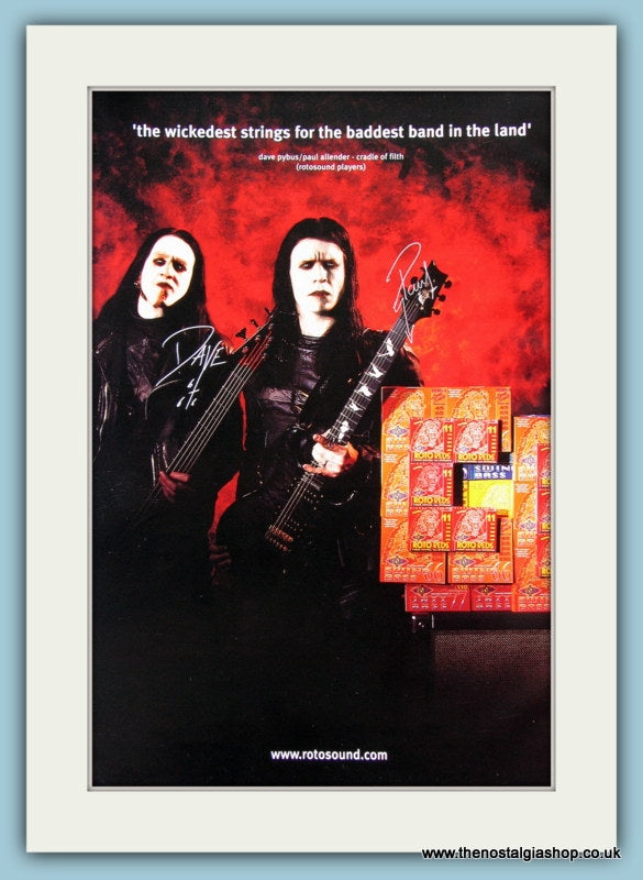 Roto Red Guitar Strings with Cradle of Filth. Original Advert 2003 (ref AD2201)