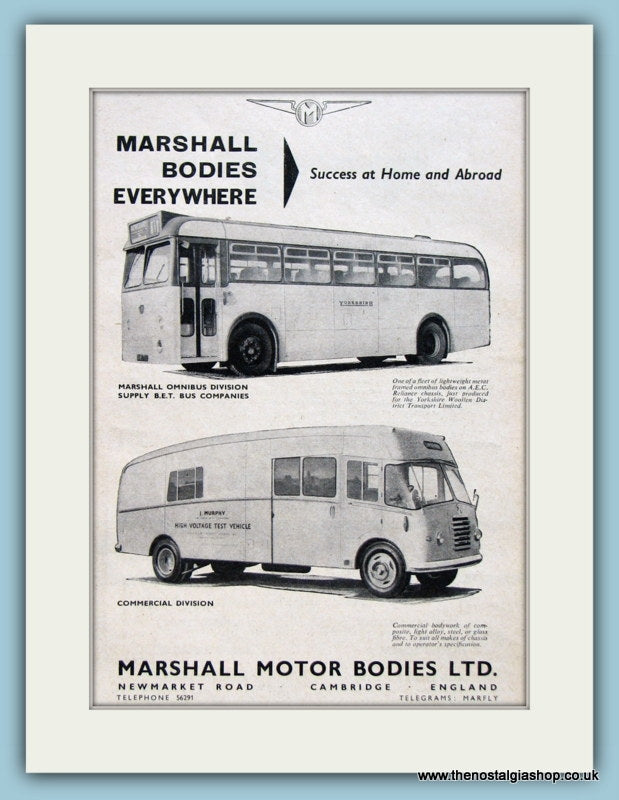 Marshall Motor Bodies  Original Advert 1962 (ref AD2964)