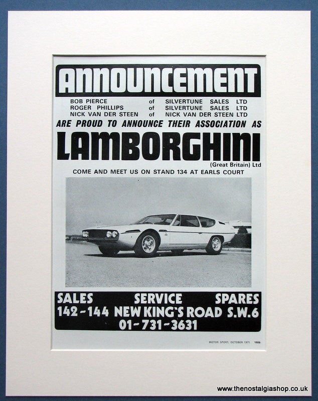Lamborghini -Announcement at Earls Court 1971 Original Advert (ref AD1684)