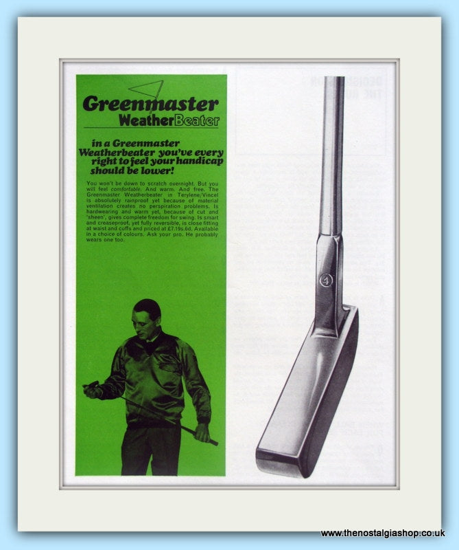 Greenmaster Putters. Original Advert 1968. (ref AD4989)