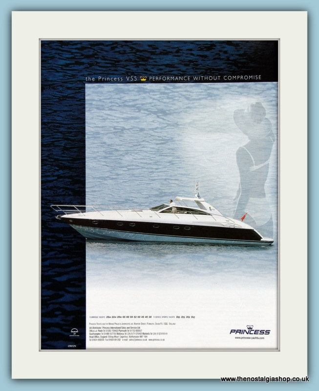 Princess V55 Power Boat Original Advert 2001 (ref AD2323)