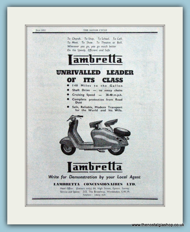 Lambretta Scooter Original Advert 1952 (ref AD4192)