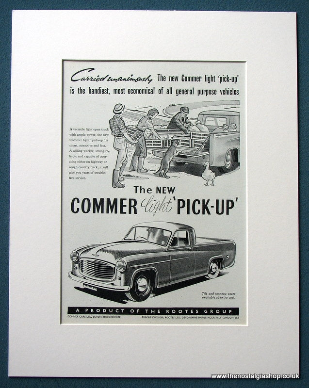 Commer Light Pickup 1953 Original Advert (ref AD1113)