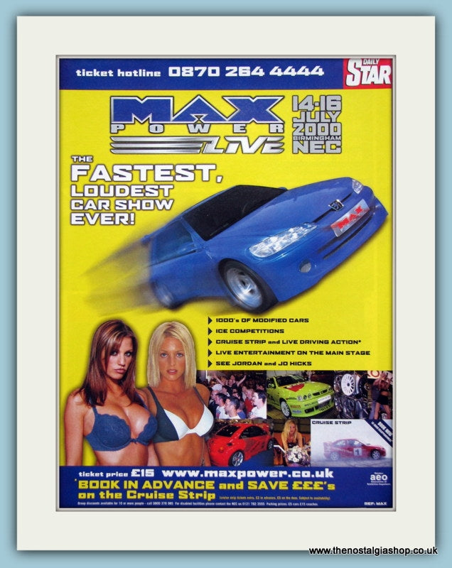Max Power NEC Car Show 2000. Original Advert (ref AD2032)