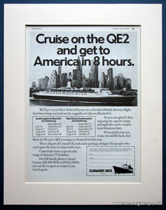 QE2 Cruise To America. Original advert 1975 (ref AD964)