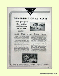 Alvis Letter from India Original Advert 1936 (ref AD6621)