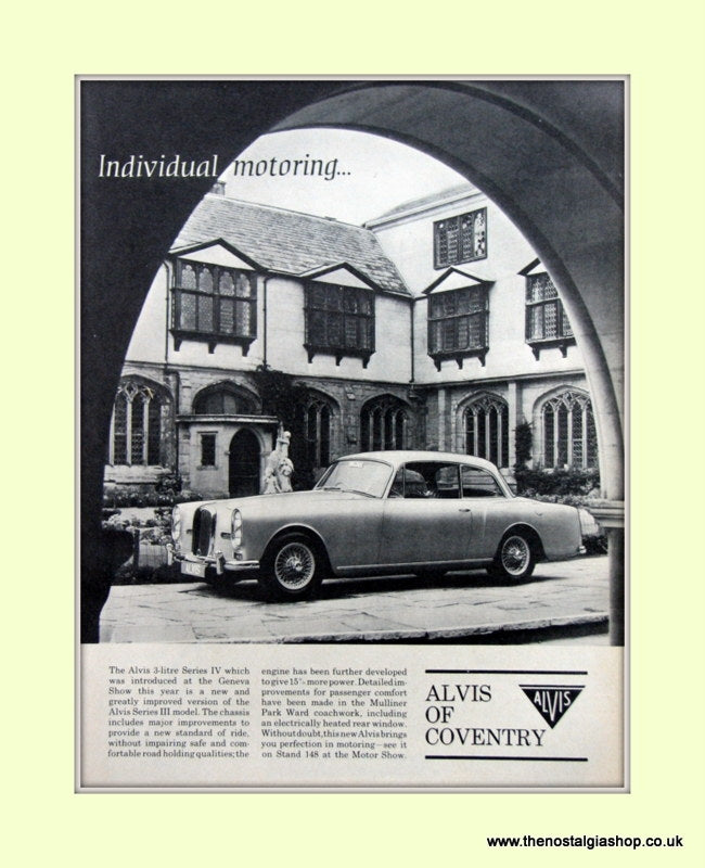 Alvis Three Litre Series IV. Original Advert 1966 (ref AD6641)