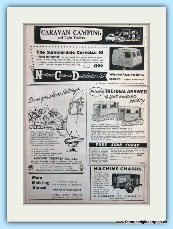 Summerdale Corvette 10, Corsaire & Buccaneer Caravan Original Adverts 1955 (ref AD6335)