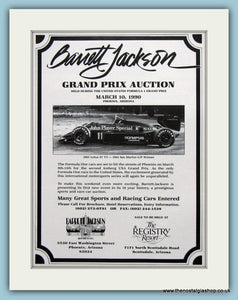 Barnett Jackson Grand Prix Auction 1990. Original Advert (ref Ad2022)