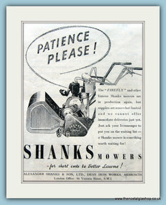 Shanks Mowers. Original Advert 1946 (ref AD4625)