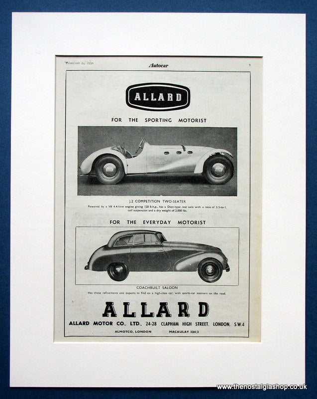 Allard J.2 Competition 2 Seater And Saloon 1950 Original Advert (ref AD1452)