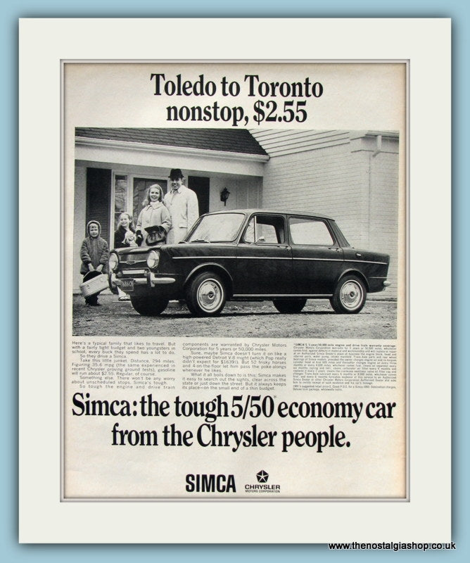 Chrysler Simca Original Advert 1967 (ref AD8204)
