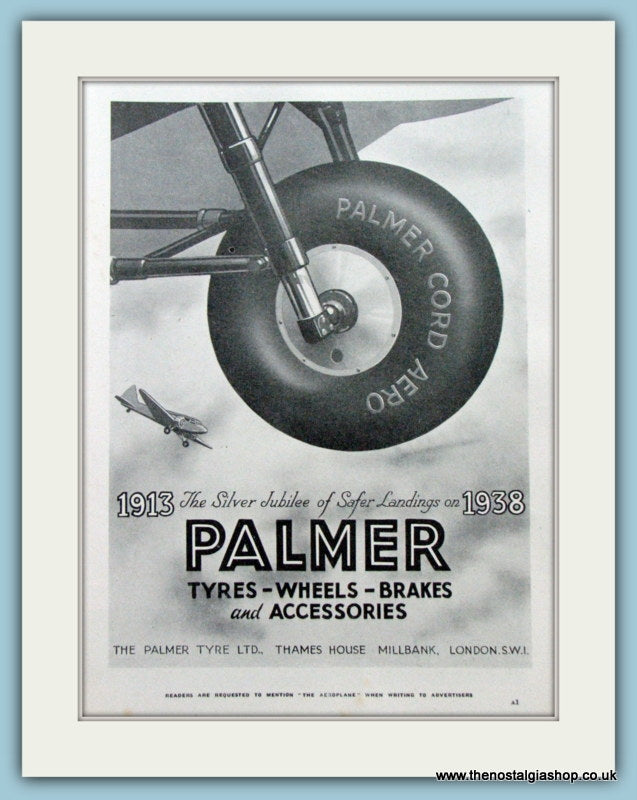 Palmer Aircraft Tyres. Original Advert 1938 (ref AD4218)