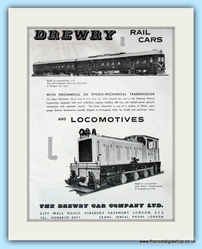 Drewry Locomotives. Original Advert 1961 (ref AD6166)