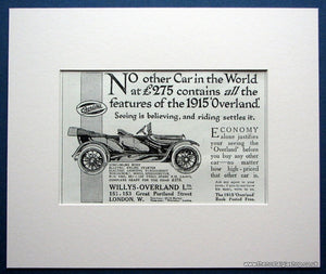 Willys Overland Car. Original advert 1915 (ref AD1616)