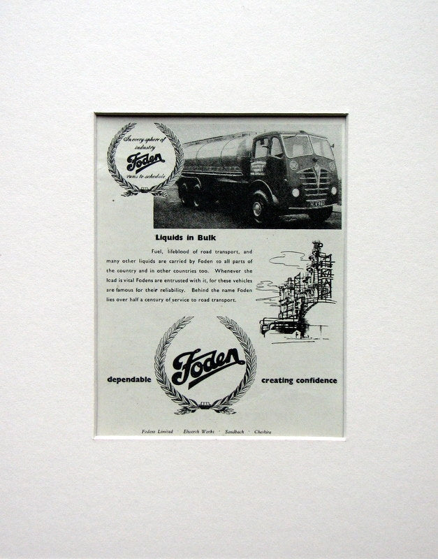 Foden Vehicles. Original advert 1954 (ref AD1523)