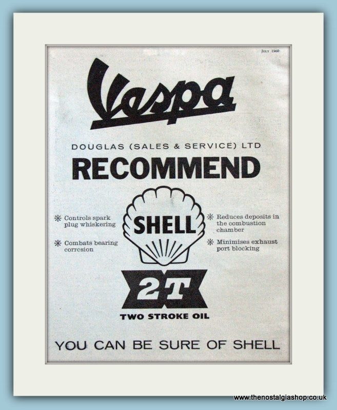 Vespa Recommend Shell 2T Oil. 1960 Original Advert (ref AD4080)