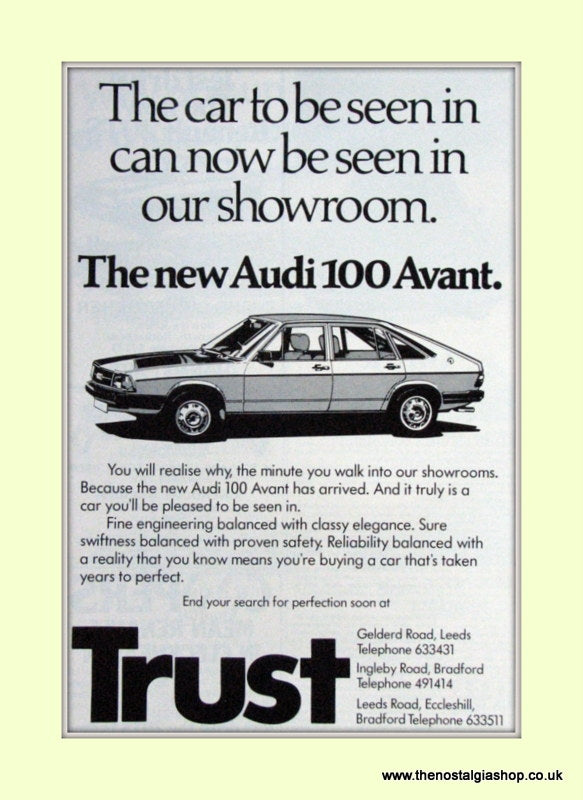Audi 100 Avant At Trust Showroom Original Advert 1978 (ref AD6775)