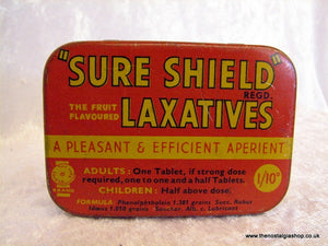 Sure Shield Laxatives. Vintage Tin (ref nos036)