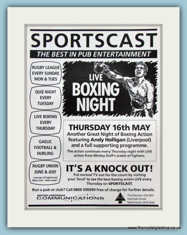 Sportscast, Live Boxing Night, Original advert 1991 (ref AD4395)