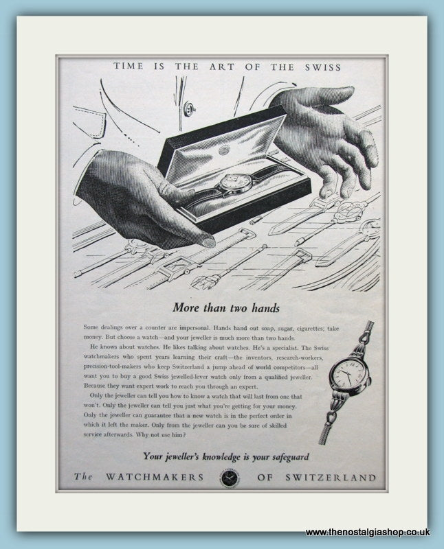 Swiss Watchmakers. Original Advert 1953 (ref AD6124)