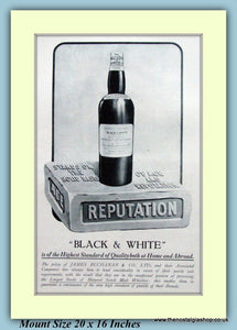 Black And White James Buchanan Whisky Original Advert 1923 (ref AD9209)