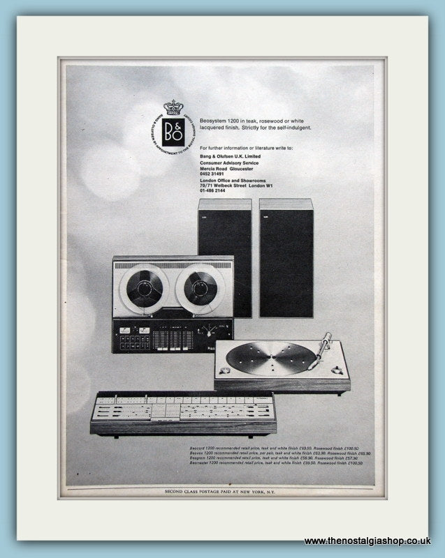 Beosystem Bang & Olufsen Original Advert 1971 (ref AD3868)