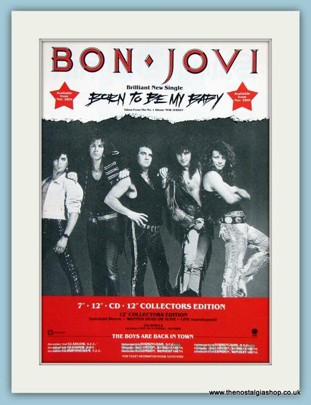 Bon Jovi, Born To Be My Baby 1988 Original Advert (ref AD3280)