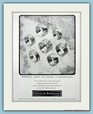 Owen & Robinson Jewellers Set Of 2 Original Adverts 1964 & 1967 (ref AD6250)