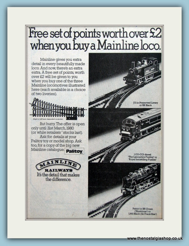Palitoy Mainline Railways Locos Original Advert 1980 (ref AD6451)
